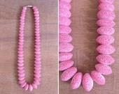 20% CNY SALE - Vintage 60's Pink Carved Sponge Coral Beaded Necklace