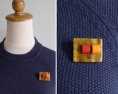 20% CNY SALE - Vintage 70's Graphic Op Art Geometric Brown Celluloid Brooch Pin