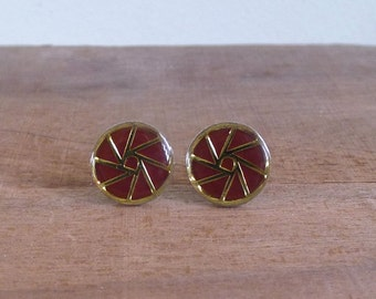 10 to 25% OFF (See Shop) Vintage 60's 'Origami' Maroon & Gold Geometric Circle Silver Cuff Links