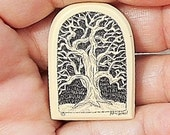 Tree of Life Hand Etched  Faux Bone, Fantastic Tree Etched &  Signed,  Brooch or wear Necklace Only 29.00