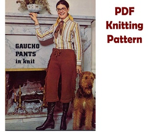 PDF 1970s Gaucho Pants Knitting Pattern Fringed Hip Hugger Drawstring Waist Festival Flow Womens Pants