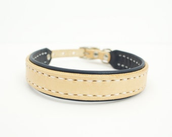 Small Leather Dog Collar - lined, custom, personalized, girl, boy, female, male, navy, pink