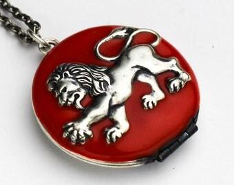 Lion Locket Necklace - Enameled Heraldic Lion Locket - Red Lion Locket - Lion Jewelry