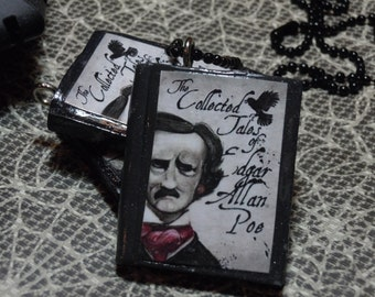 Poe Book Necklace, Edgar Allen Poe, Book Necklace, Gothic Necklace, Halloween Jewelry