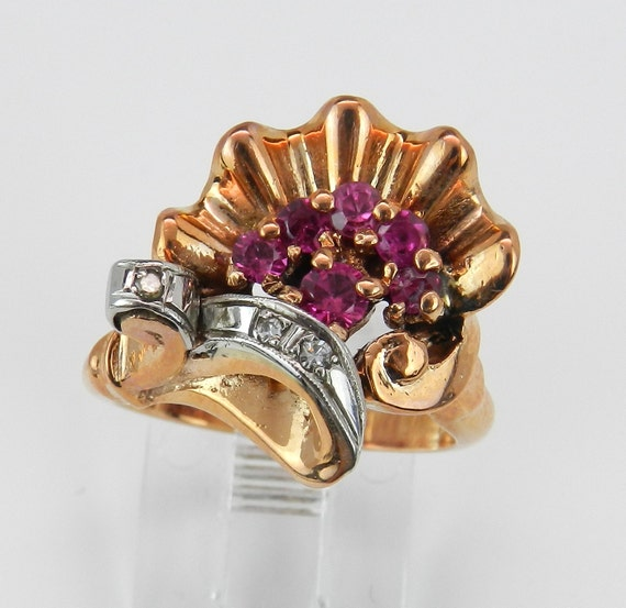 Antique Retro Ring Diamond and Ruby Ring Statement Ring Size 5.5 Circa 1940's 14K Pink Rose Gold