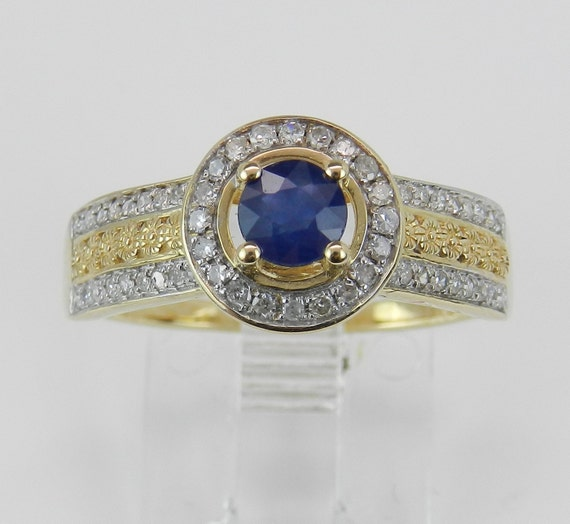 Sapphire and Diamond Engagement Ring Halo Promise Ring 14K Yellow Gold Size 7.25