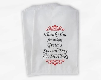 Personalized Thank You Candy Favor Bags - Custom Favor Bags for Bridal Shower, Birthday - Set of 25 Red and Black Paper Bags (0004)