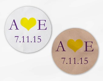 Initials & Heart Wedding Favor Stickers - Purple and Yellow Custom White Or Kraft Round Labels for Bag Seals, Envelopes, Mason Jars (2004)