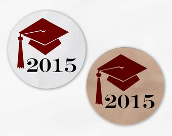 Graduation Cap Favor Stickers in Dark Red - Custom White Or Kraft Round Labels for Bag Seals, Envelopes, Mason Jars (2012)