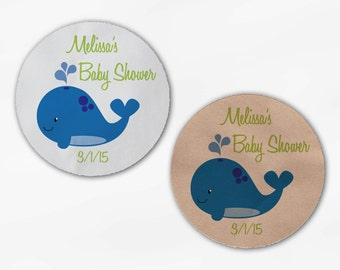 Whale Baby Shower Stickers - Personalized Blue and Green Custom White Or Kraft Round Labels for Bag Seals, Envelopes, Mason Jars (2036)
