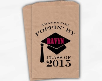 2017 Graduation Cap Personalized Popcorn Bags - Set of 25 Black and Hot Pink High School Grad Party Kraft Favor Bags Poppin By (0060)