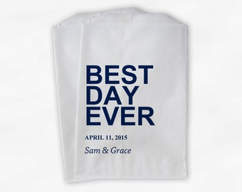Best Day Ever Wedding Candy Buffet Treat Bags - Navy Blue Personalized Favor Bags with Names and Wedding Date - Custom Paper Bags (0064)