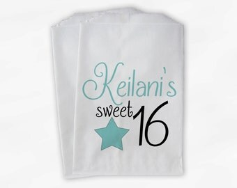 Sweet 16 Birthday Personalized Candy Buffet Bags - Robins Egg Blue Star Custom Favor Bags - 25 Paper Treat Bags (0081)