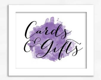 Cards and Gifts Print in Purple - Watercolor Calligraphy Wedding Reception Sign for Gift Table (4001)