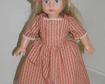 Colonial outfit including gown, pantaloons, bum roll, and mob cap for 18 inch doll