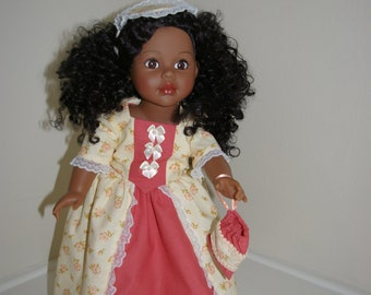 Colonial outfit for 18 inch doll with gown, top, cap, handbag, pantaloons and bum roll.