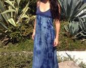 Silk Indigo Dress// Handmade Silk Maxi Dress// Organic Dye Dress