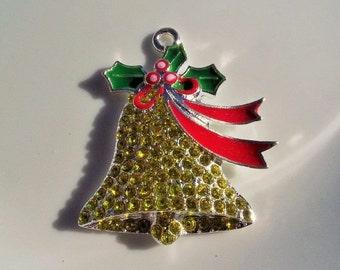 40mm, Rhinestone Christmas Bell Pendant, P2