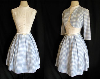 "Vintage 1950s Dress and Bolero Jacket Blue Gingham Rockabilly  XS XXS Teen 23"" Waist"