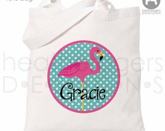 Flamingo Tote Bag - Personalized Beach Bag - Printed Flamingo Beach Tote Bag - Monogram Pool Bag - Summer Vacation