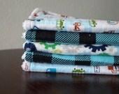Boy Washcloths - Blue - Green - Cars - Plaid - Baby Boy Bath Gift - Baby Boy Wash Cloths - Baby Gift Under 20