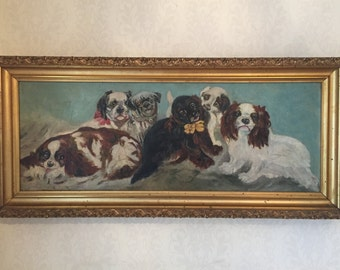 Antique painting of a group of Dogs /  Dogs portrait /  dog painting