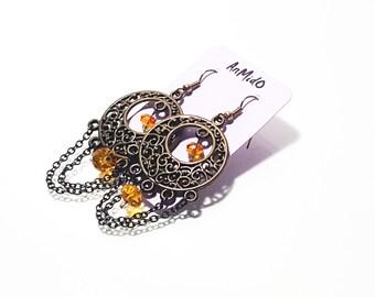 Jhumka Earrings, Hoop style Earrings, Long Dangling Earrings, Filigree earrings, Black and Gold