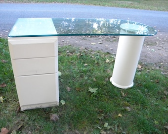 very cool vintage mid century modern GLASS top LANE DESK     pick up only