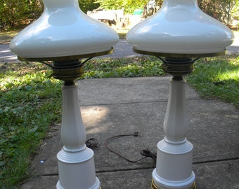 matching pair of vintage 1960s 1970s fancy clean hollywood regency mid century MILK GLASS LAMPS with shades