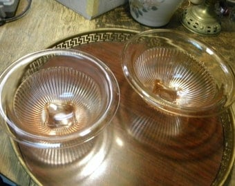 2 great shape clean vintage pink depression glass FEDERAL MIXING BOWLS