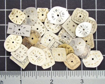 30 Vintage watch faces, watch dials from antique movements, mixed lot of used mini clocks, painted & some enameled Steampunk Supplies 03757