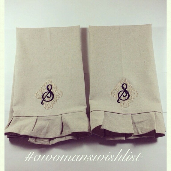Monogram Hand Towel Monogram Linen Tea Towel Monogram