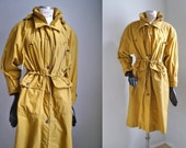 Vintage 80s 90s parka COAT Mid Lenght Yellow Ocre Lined Puffer Coat