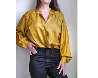 Vintage 80s SILK Blouse Mustard yellow loose fit long sleeve blouse Long sleeves soft trendy blouse