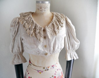 Cropped Blouse RUSTIC Linen and Crochet lace Folk Top Natural womens fashion Boho pirate fanatsy Oktoberfest Dirndl blouse