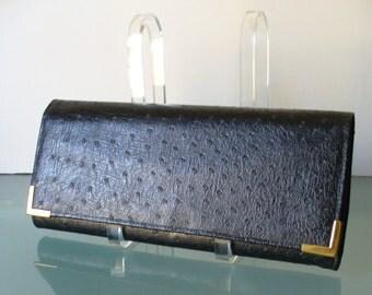 Vintage JR Faux Ostrich Long Clutch Bag