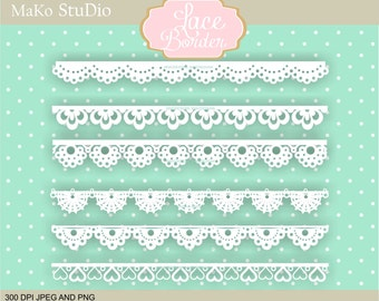 Lace Border clipart, digital border clip art, Lace banner clip art, Personal or Commercial Use