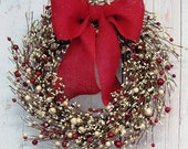 WREATH SALE READY To Ship! - Valentine Wreath - Red & Ivory Pip Berry Wreath - Valentines Day - Valentines Wreath - Winter Red Berry Wreaths