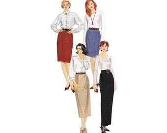 One Hour Pencil Skirt Pattern Size 14 Waist 28 Four Lengths McCalls 7244 Fit Expert Palmer Pletsch Uncut 1990s Sewing Pattern
