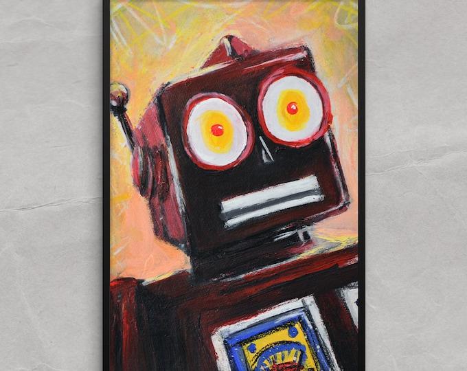 Tin Toy Robot Poster or Framed Print Art Print, Surprised Robot
