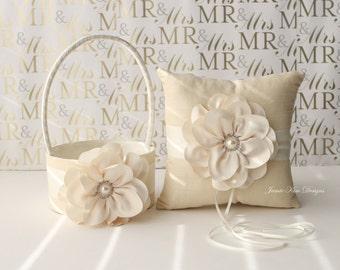 Ring Bearer Pillow & Flower Girl Basket with Pearls- (Custom Made to Order)
