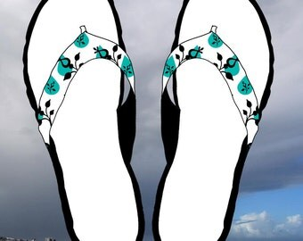 Digital Flip Flops Black Blue and White Clip Art Instant Download