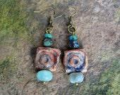 Rustic Boho Clay and Czech Bead Earrings
