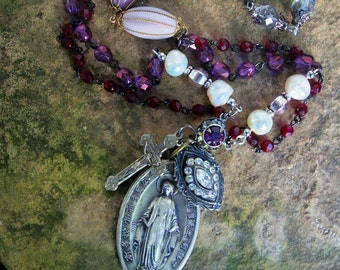 Mixed Media Rosary Vintage and Antique Beads