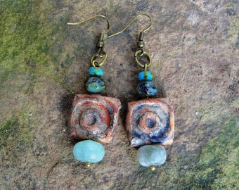 Rustic Boho Clay and Czech Bead Earrings