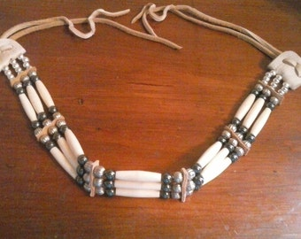 Hair Pipe Choker- 3 Row- with Hemitite and Silver Beads- Native American- Elusive Wolf
