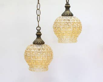 Vintage Swag Lamp / Pendant Light Set, Champagne Carnival Glass