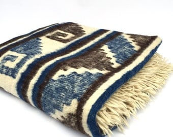Large Alpaca Wool Blanket, South American Geometric Motif, Blue Brown