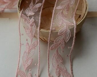 "20 meter 3cm 1.18"" wide dark pink mesh embroidery lace trim ribbon L18K369 free ship"