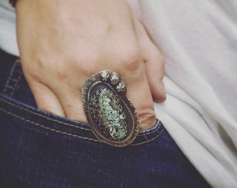 Large BOHO Variscite Statement Ring Size 8.5 - Unique OOAK Black & Turquoise Paisley Sterling Silver Metalwork Jewelry Gift for Her